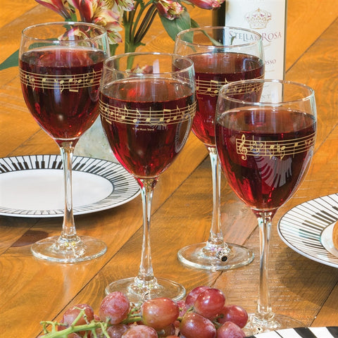 Music Score Wine Glasses, Set of 4 (HH)