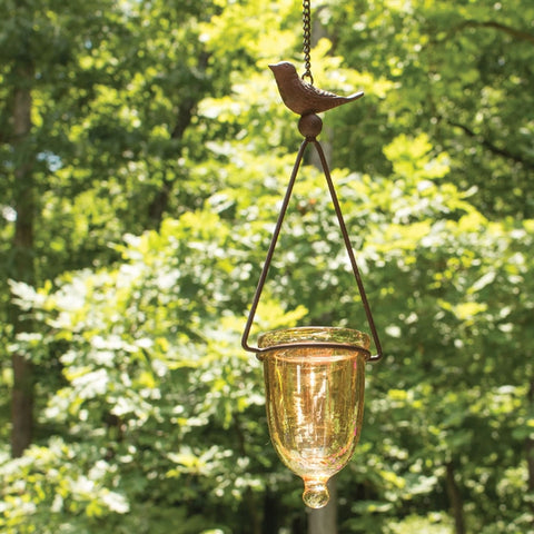 Glass & Iron Bird Votive Holder
