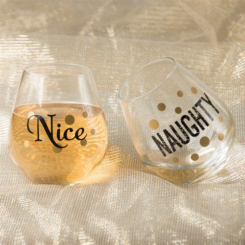 Naughty & Nice Stemless Wine Glasses (NB)