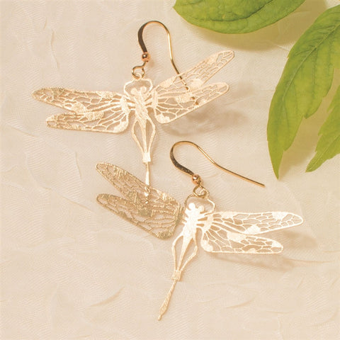 Gold Filigree Dragonfly Earrings