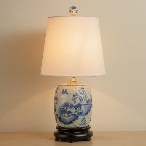 Blue & White Mini Stool Lamp (NB)