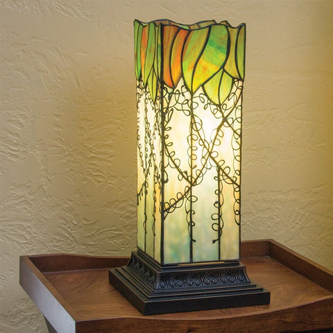 Magnolia Leaves Stained Glass Pillar Lamp (NB)