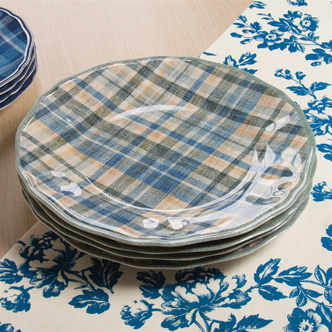 Ruffled Plaid Melamine Dinner Plates
