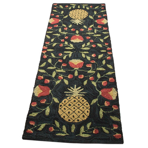 "Pineapples & Posies Hand-Hooked Runner - 24"" x 72"""