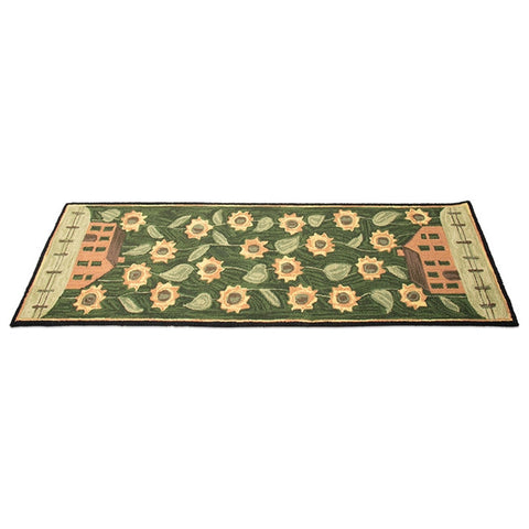 "House & Sunflowers Hand-Hooked Runner - 24"" x 72"""