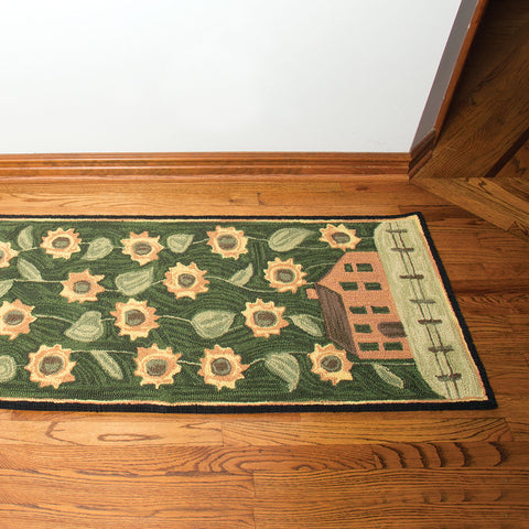 "House & Sunflowers Hand-Hooked Runner - 24"" x 72"" (NB)"