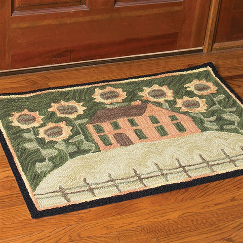 "House & Sunflowers Hand-Hooked Rug - 36"" x 24"" (NB)"