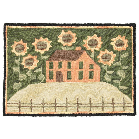 "House & Sunflowers Hand-Hooked Rug - 36"" x 24"""