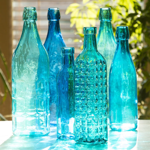 Brilliant Blue Glass Bottles, Set of 6 (NB)