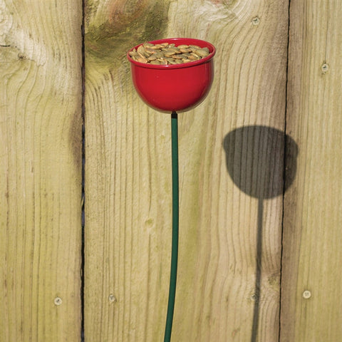 Red Cup Bird Feeder Garden Stake