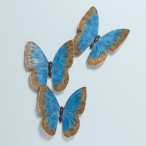 Fluttering Butterflies Brass Wall Sculpture