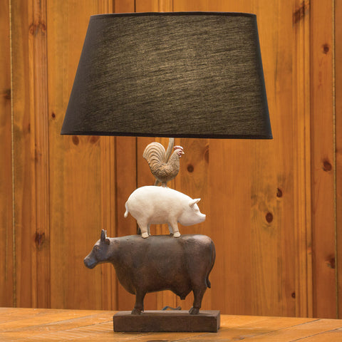 Farmhouse Trio Table Lamp With Linen Shade (NB)