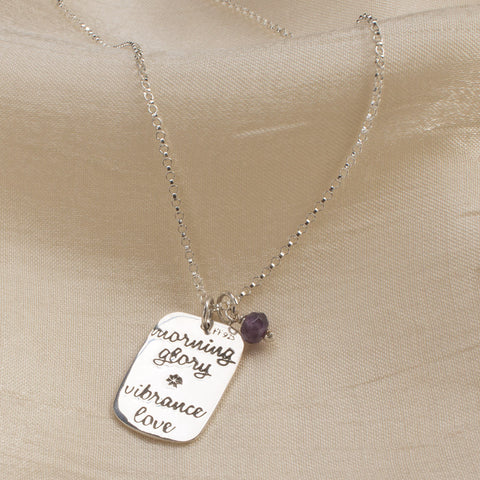 Morning Glory Silver & Amethyst Necklace (NB)
