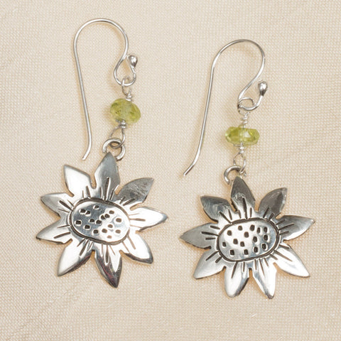 Sterling & Peridot Sunflower Earrings