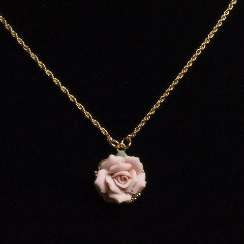 Blush Pink Rose Necklace