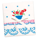 Floral Blue Flowerpots Tea Towel Pair (NB)