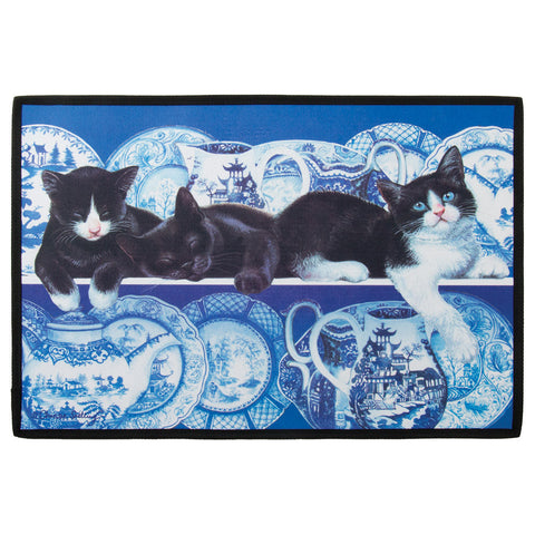 Blue Willow Cats Welcome Mat