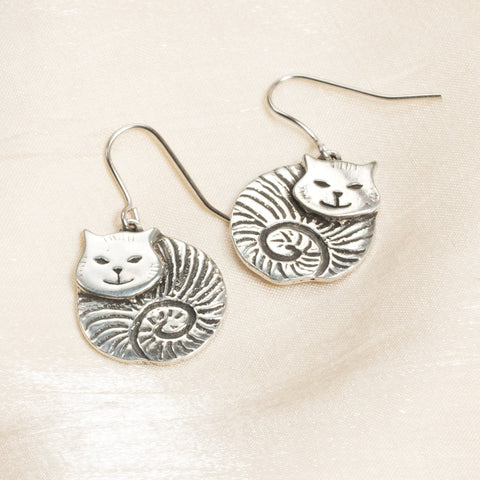 Fat Cat Pewter Earrings