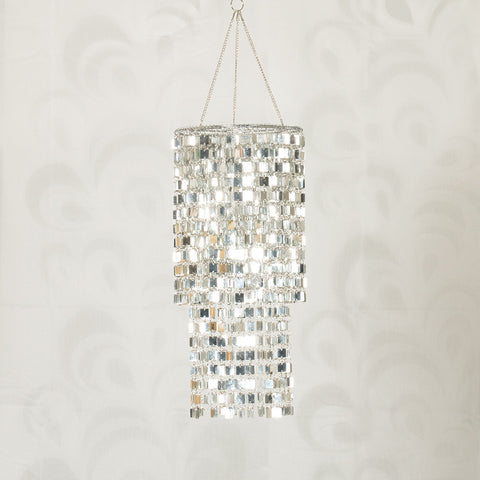Hanging Icicles Mirrored-Squares Chandelier (NB)