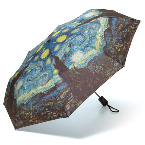 Van Gogh's Starry Night Silk Compact Umbrella