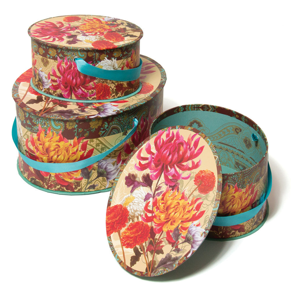 Floral Nested Hat Box Trio