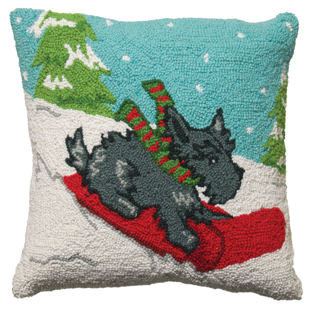 Sled Dog Hooked Wool Pillow