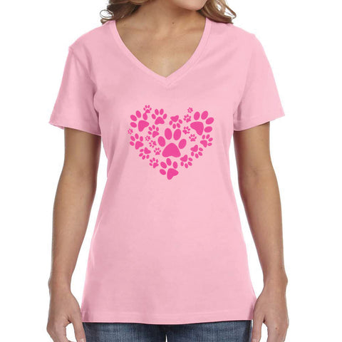 Pink on Pink Paw Heart T-Shirt