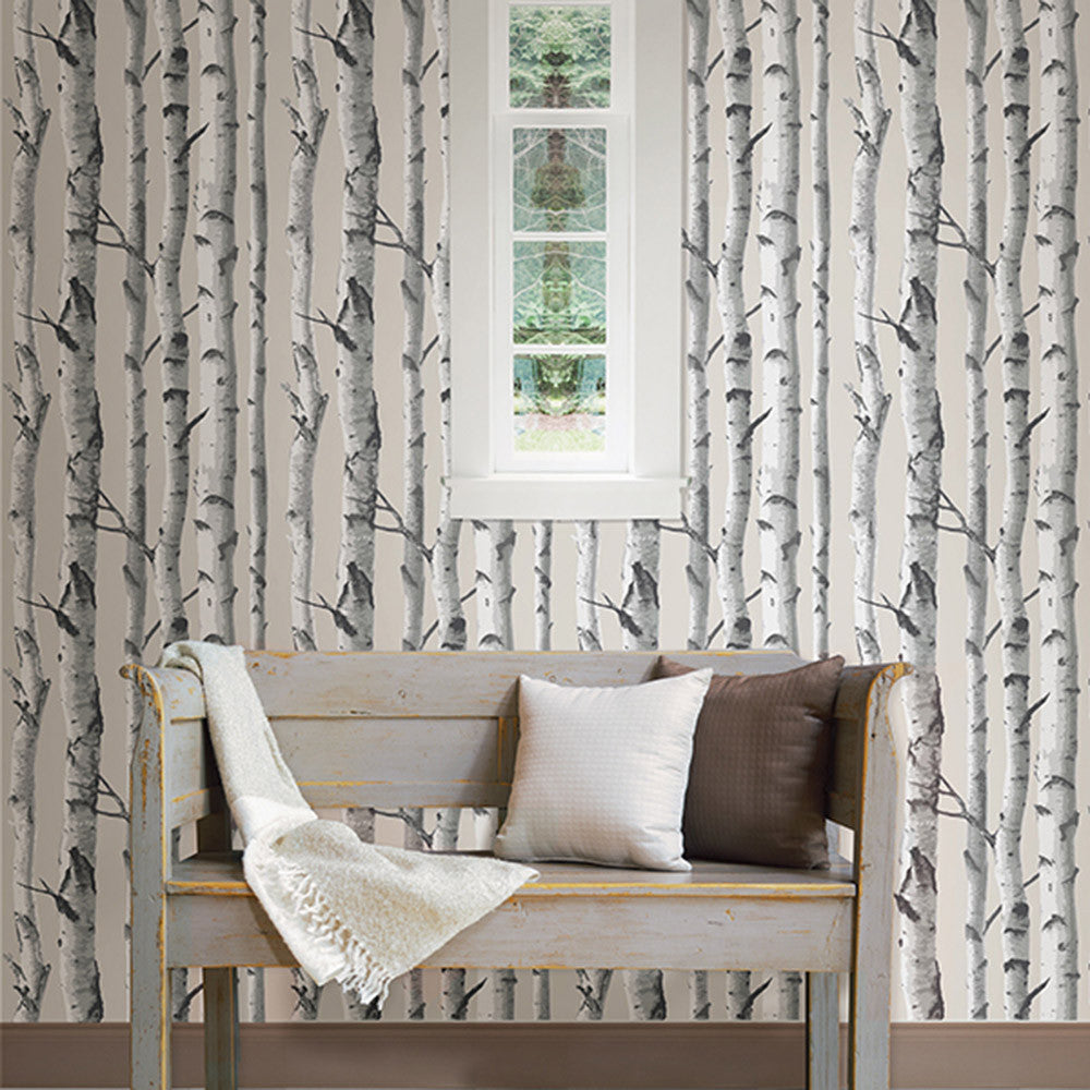 Birch trees peel and stick wallpaper linda anderson for Tree wallpaper for walls