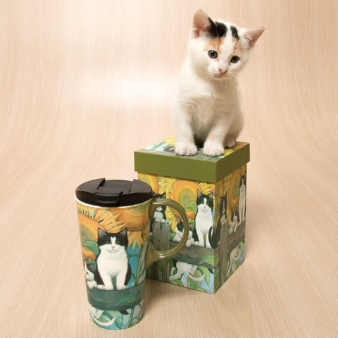Felines on a Fence Travel Mug in Gift Box