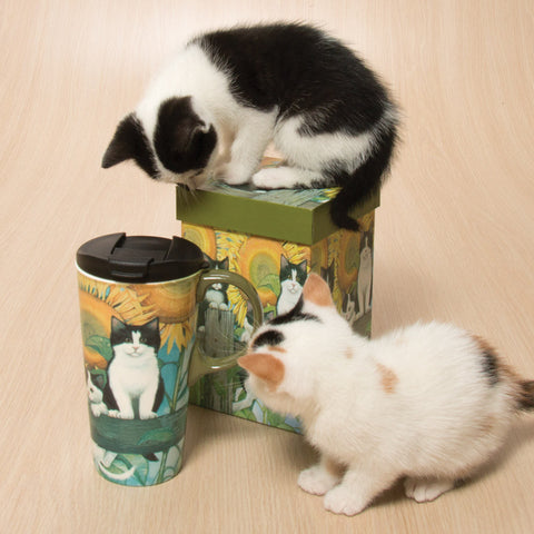 Sunflower Kittens Travel Mug With Gift Box