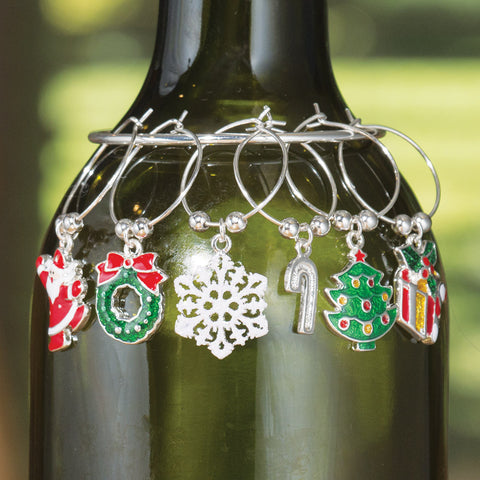 Holiday Wine Charms, Set of 6