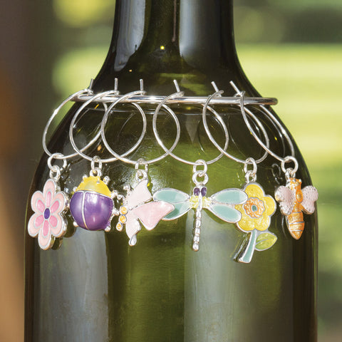 Bugs and Blooms Wine Charms, Set of 6