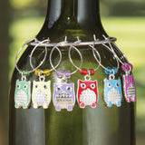 Colorful Owls Wine Charms, Set of 6