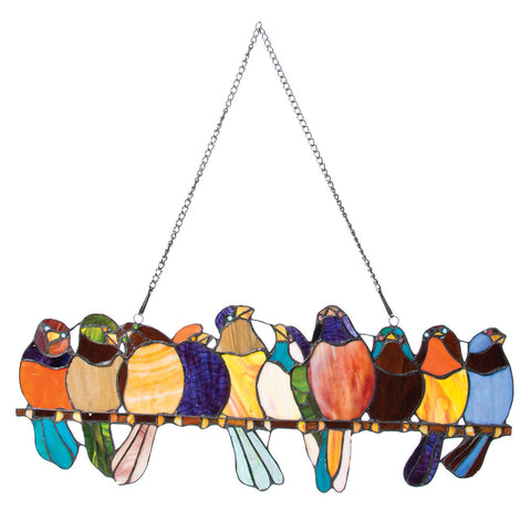 Birds on a Wire Stained Glass Suncatcher
