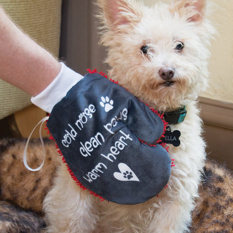Warm Heart Microfiber Pet Cleaning Mitt