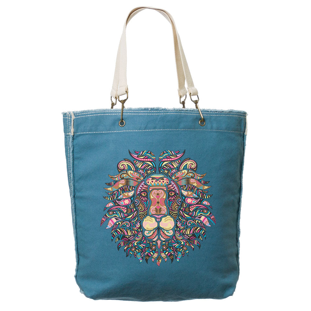 Mosaic Lion Frayed-Edge Canvas Tote