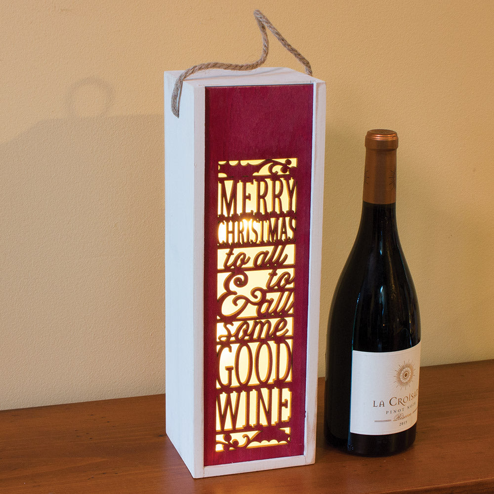 Merry Christmas Light-up Wine Caddy