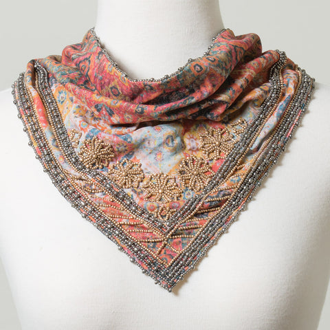 Autumn Delight Beaded Triangle Scarf