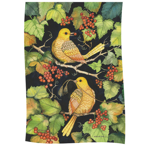 Golden Birds & Berries Garden Flag