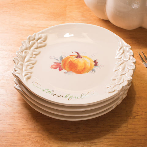 Watercolor Harvest Plates, Set of 4 (NB)
