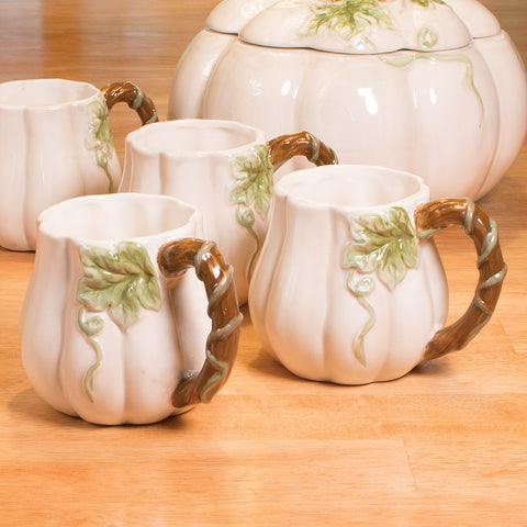 White Pumpkins Mugs, Set of 4 (NB)