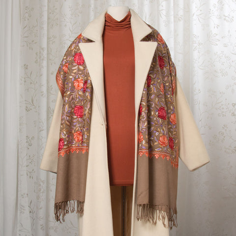 Regency Embroidered Cashmere Shawl Scarf (NB)