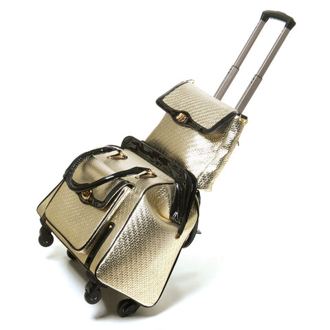 Couture Travel Bag Set in Silvery Gold
