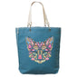 Mosaic Cat Frayed-Edge Canvas Tote
