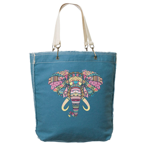 Mosaic Elephant Frayed-Edge Canvas Tote
