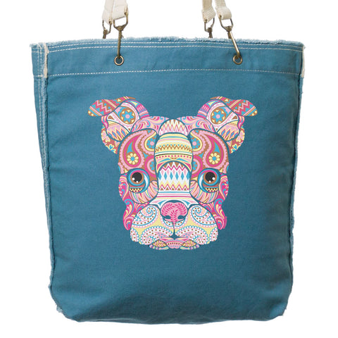 Mosaic Dog's Face Frayed-Edge Canvas Tote