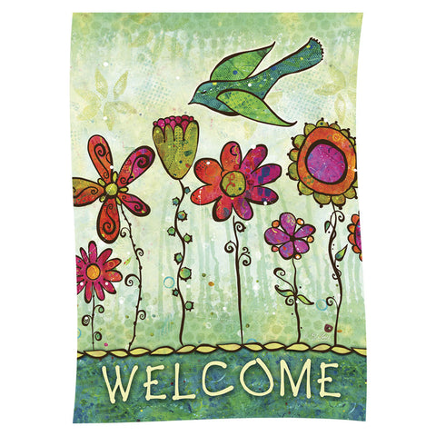 Groovy Blooms Welcome Garden Flag