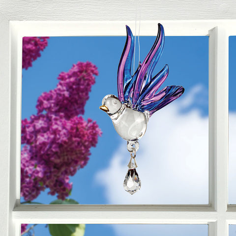 Glass Purple Songbird Suncatcher