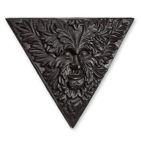 Green Man Iron Triangle Plaque