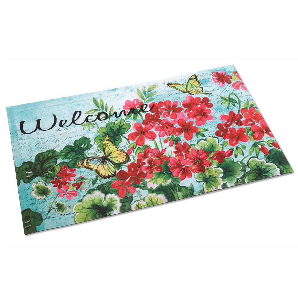 Geraniums & Butterflies Embossed Welcome Mat